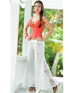 White Lace Billow Pants, White Summer Pants, Billow Pants White Lace, #N4528
