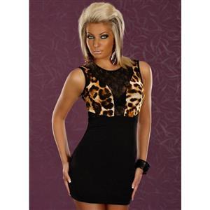 Lace and Studs Clubwear, Black Sleeveless Club Dress, Cheetah Print Sleeveless Dress, #N6749