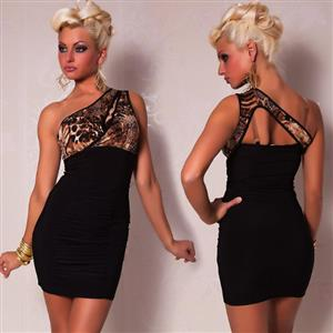 One Shoulder Leopard Dress, Black & Cheetah Print One-shoulder Club Dress, Black Asymmetrical Dress, #N6790