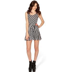 Plaid Skater Dress, Sleevele Black and White Pleated Dress, Indy Check Reversible Mini Dress, #N8760