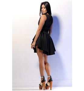Elegant Black Cocktail Dress, Popular Folds Dress, Sleeveless short Dress, #N9232