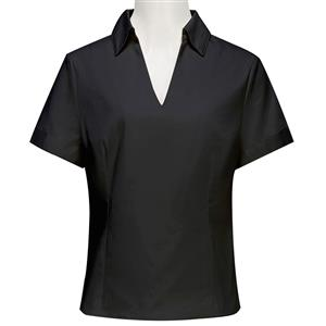 Top for Women, Short Sleeve V- Neck Top, Black Cotton Blouse, Women