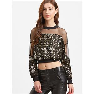 Fashion Glitter Sequined Long Sleeve Crop Top N12457