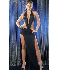 Sexy Deep V Long Gown, Sexy Gown, Sexy Black Gown, #N5377