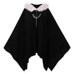 Black Hooded Cape, Faux Fur Zipper Cape, Women
