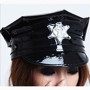 Fashion Black Faux Leather Hat, Police Cosplay Hat, Stewardess Cosplay Hat, Leather Adult Police Cosplay Hat, Fashion Black Stewardess Cosplay Hat, #J16563
