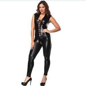 Sexy Catsuit for Women, Cheap Black Bodycon Jumpsuit, Open Hip Catsuit Lingerie, Faux Leather Catsuit, Crotchless Bodusuit, Women Faux Leather Bodysuit, #N15664