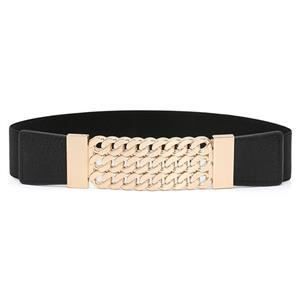 Luxury Metal Waist Belt, Metal Black Waist Belt, Luxury Leather Waist Belt Black, Waist Belt for Women, Fashion Dress Waist Belt, Elastic Girdle for Women, #N16939