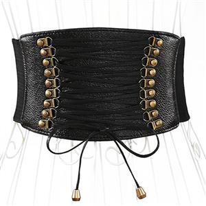 Tied Wasit Belt, High Waist Corset Cinch Belt, Steampunk Wasit Belt, Waist Cincher Belt Black, Lace Up Wide Waistband Cinch Belt, #N14789