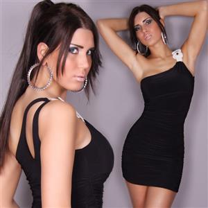 One Shoulder Black Mini Dress, Glamour Rhinestones Mini Dress, Backless One-piece Dress, #N6791