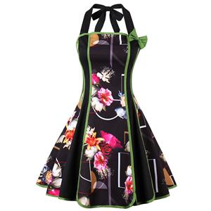 Vintage Dresses for Women, Sexy Dresses for Women Cocktail Party, Casual Mini dress, Flower Print Swing Daily Dress, Halter Mini Dresses, #N14998