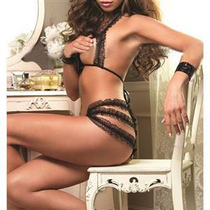Sexy Lace Lingerie Set, Fashion Lace Frill Panty Set, 2 Piece Lingerie Sets, Black Halter Lace Frill Cupless Lingerie Set, Black Panty Underwear Set, #N16913