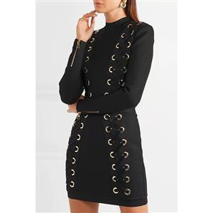 Black Long Sleeve Dress, High Neck Bodycon Dress, Black Women
