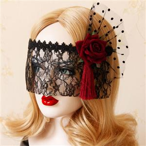 Halloween Masks, Costume Ball Masks, Black Lace Mask, Masquerade Party Mask, Punk Black Mask, Cosplay Face Veil, #MS13022