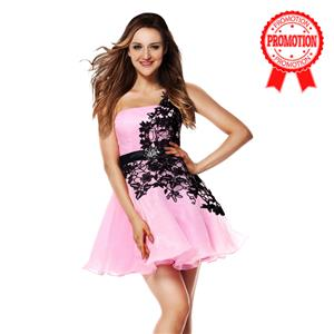 Pink and Black Sweet 16 Dresses, A-line Dresses on sale under 200, Hot Selling Homecoming Dresses, Girls One-shoulder Dresses for cheap, #Y30051