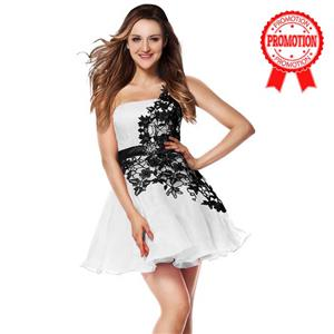 White and Black Sweet 16 Dresses, A-line Dresses on sale under 200, Hot Selling Homecoming Dresses, Girls One-shoulder Dresses for cheap, #Y30091