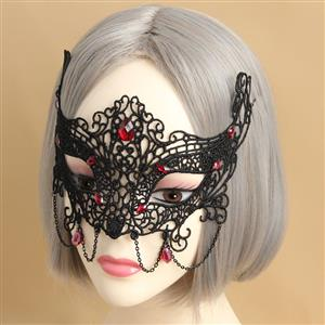 Halloween Masks, Costume Ball Masks, Black Lace Mask, Masquerade Party Mask, #MS12933