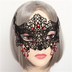 Halloween Masks, Costume Ball Masks, Black Lace Mask, Masquerade Party Mask, #MS12935
