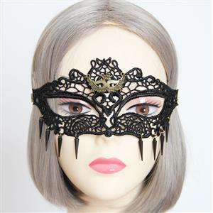 Halloween Masks, Costume Ball Masks, Black Lace Mask, Masquerade Party Mask, #MS12930
