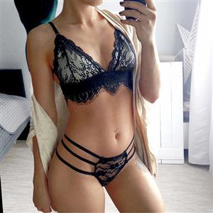 Sexy Lace Lingerie Set, Fashion Floral Lace Bra Set, 2 Piece Lingerie Sets, Black Sexy Bra Set Lingerie, Black Bra and Panty Underwear Set, Black Lace Bra Bridal Set, #N16848