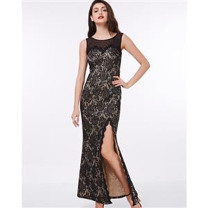 Sleeveless Round Neck Maxi Evening Gowns, Elegant Black Lace Slit Long Evening Dress, Sheath High Split Long Evening Dress, Women
