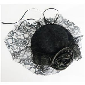 Black Lace Top Cap, Lace Rose Top Cap, Mini Top Hat, #J7330