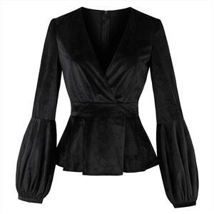 Black Long Sleeve Tops, Deep V Neck Tops, Black Slim Ruffles Tops, Women