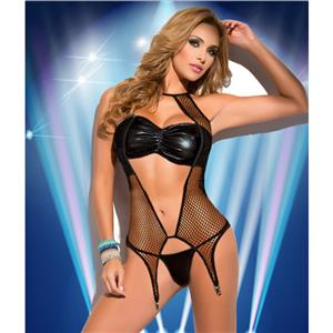 Sexy Black Leather Mesh PVC Wet Look Lingerie Bikini Set N11582