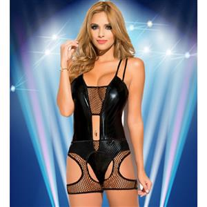 Sexy Black Mesh Leather PVC Wet Look Teddies Lingerie N11581