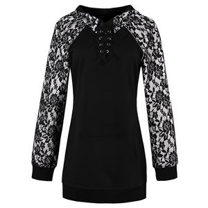 Black Long Sleeve Tops, Lace Patchwork Tops, Black Lace-up Pullover Tops, Women