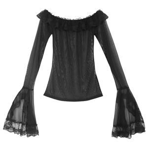 Sexy Black Long Sleeve Mesh Tops, Elegant Off Shoulder Mesh Tops , Casual Off Shoulder Mesh Pullover Tops, Black Long Sleeve Mesh Slim Fit Tops, See-through Mesh Pullover Tops, #N17022