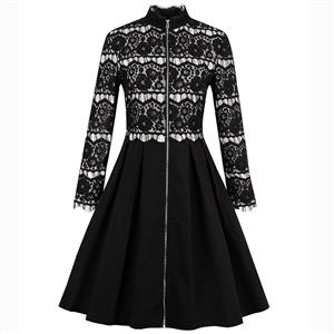 Black Long Sleeve Dress, Lace Stand Collar Dress, Lace Patchwork A-Line Dress, Women