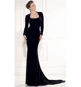 Classical Black Long Sleeves Hourglass Chapel Train Gown N10191