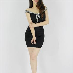 Black Off The Shoulder Dress, Lady Polyester Dress, Off The Shoulder Dress Evening Dress, #N7614