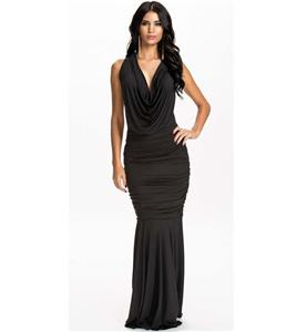 Sexy Black Low Draped Cowl Neckline Mermaid Long Gown N10173