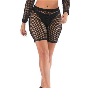 Sexy Hooded Lingerie Set, Soft Mesh Nightclothes, Sexy Sleepwear Bathrobe, See-through Mesh Nightclothes, See-through Mesh Nightclothes for Women,Sexy Shorts Lingerie, #N19013