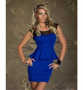 Seethrough Top OL Hippie Peplum, Mesh Insert Peplum Office Wear,  Blue Flared Waist Prom Dress, #N8676