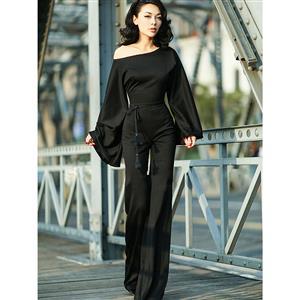 Wide LegJumpsuit, Jumpsuits for Women, Oblique Neckline Jumpsuit, Slim Plain Jumpsuit, Sleeveless Jumpsuit, Fashion Jumpsuit, #N15053