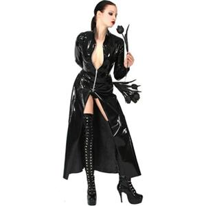 Black PVC Long Jacket, Matrix Revolutions Style Long Coat, Wetlook Gothic Full Length Coat, #N8962
