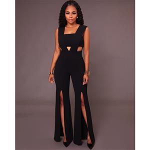 Sexy Sleeveless Strapless Jumpsuit, Black Slim Fit Bellbottoms Jumpsuit, Bodycon Split Jumpsuit, Sleeveless High Waist Jumpsuit, Fashion Bandeau Patchwork Jumpsuit for Women, #N16311