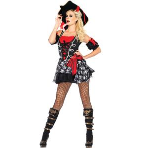Short Pirate Costume,  Buccaneer Costume, Popular Halloween Costume, Cheap Emulation Silk High Quality Costume, #N9499