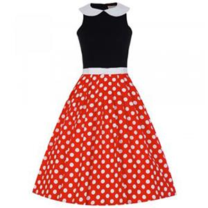 New Fashion Turn-Down Collar Polka Dot Casual Swing Dress N11589