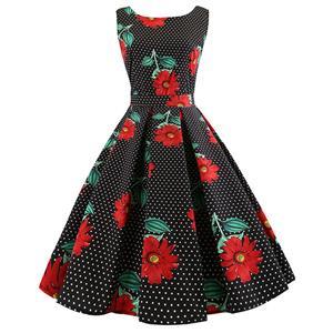 Vintage Dresses for Women, Cocktail Party Dress, Vintage Sleeveless Tank Dresses, A-line Cocktail Party Swing Dresses, Floral Print Vintage Dress, Round Neck Vintage Day Dress, #N18594
