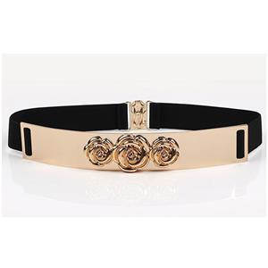 Luxury Metal Waist Belt, Rose Metal Black Waist Belt, Vintage Waist Belt Black, Waist Belt for Women, Fashion Dress Waist Belt, Elastic Girdle for Women, #N17001