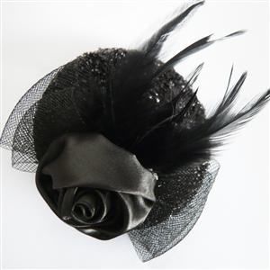 Black Rose mini Hat, Sequin Rose Mini Top Hat, Mini Top Hat, #J7344