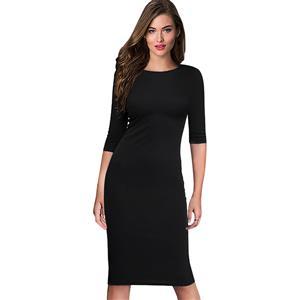 Simple Black Bodycon Midi Dress, Round Neck Half Sleeve Midi Dress, Casual Plain Knee Length Pencil Dress, Round Neck Bodycon Package Hip Dress, Plain Solid Color Bodycon Midi Dress, #N16397
