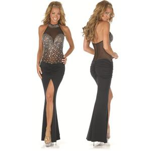 Sequin Long Dress, Black Sequin Lace Long Dress, Gowns, #N8245