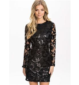 Fashion Ladies Black Sequins Flower Prints Long Sleeves Mini Dress N10192