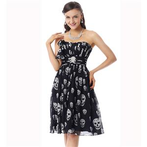 Amazing Black Skull Prints Dress, Fashion Skull Pattern Dress, Cheap Prom Dress on sale, Prom Dress for Women
