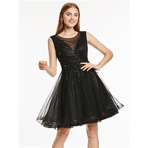 Sexy Homecoming Mini Dresses, Short Homecoming Dress Black, Tulle Party Dresses, Black Evening Dress, Hot Sale Tulle Homecoming Dresses, Cocktail Mini Tulle Dresses, #N15841